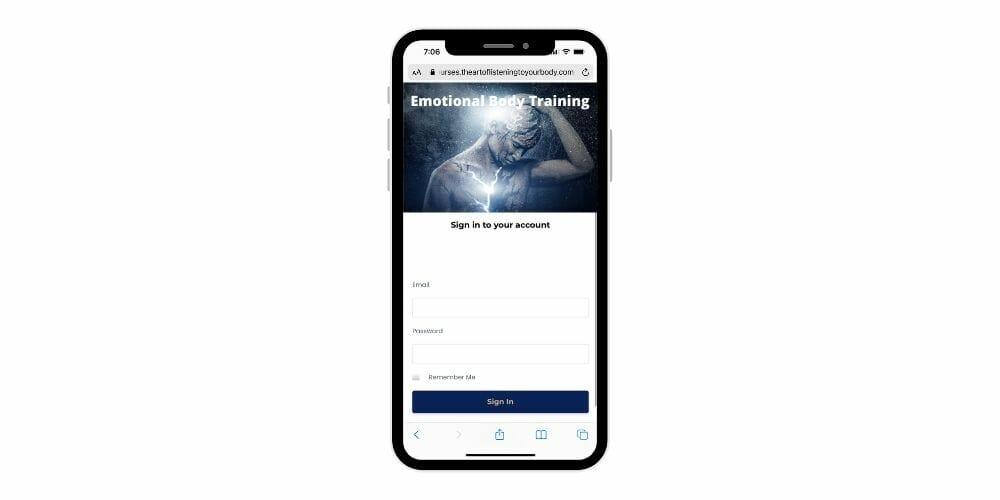 jin ong emotional body practitioner training kajabi app phone screenshot